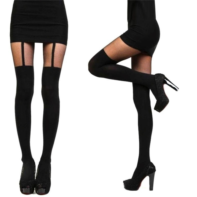 1 Pair Fashion Black Sexy Women Girl Stocking Temptation Sheer Mock Suspender Tights Pantyhose Sling Bow Stockings Socks for Women
