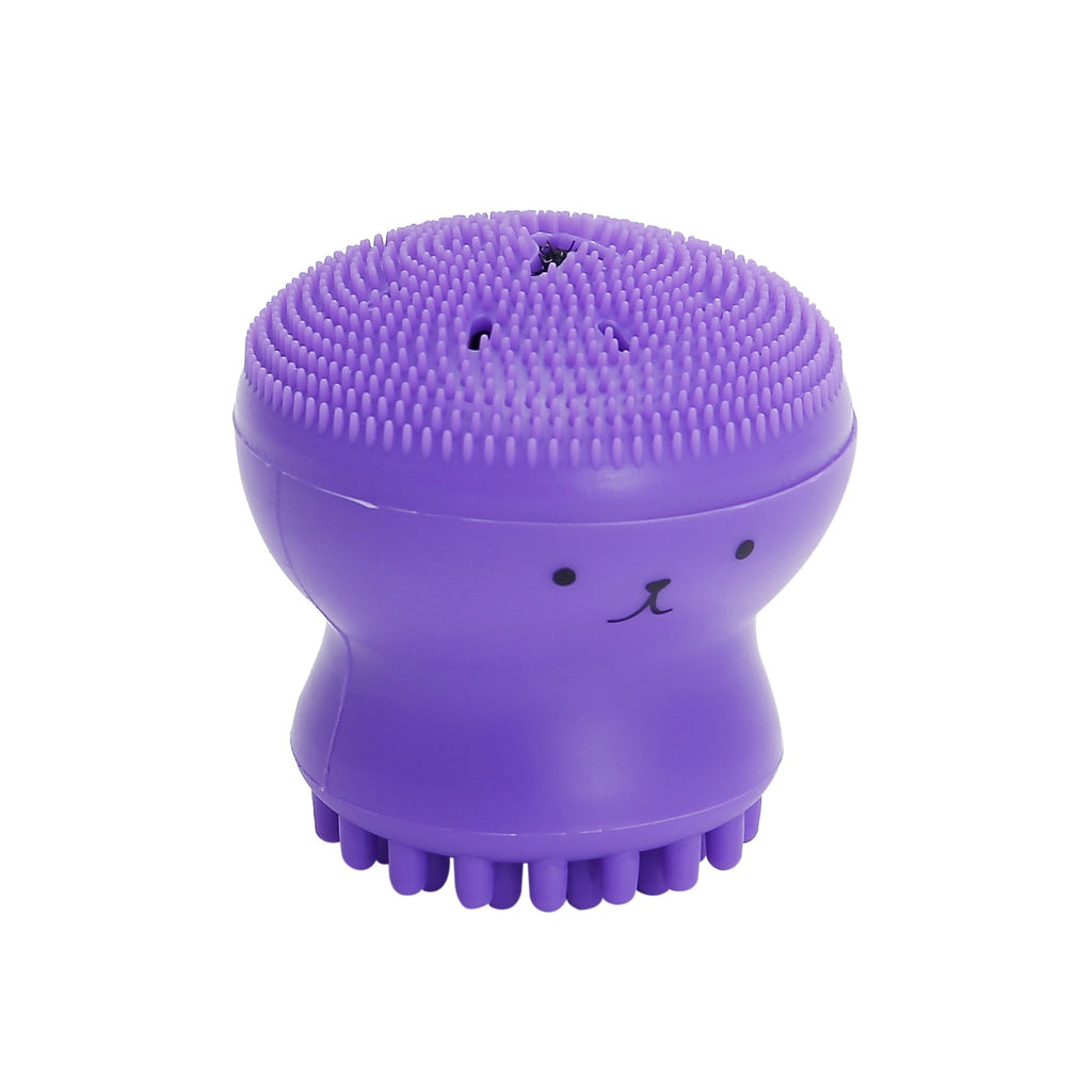 5 Colors Lovely Cute Animal Small Octopus Shape Silicone Facial Cleaning Brush Deep Pore Cleaning Exfoliator Face Washing Brush Skin Care