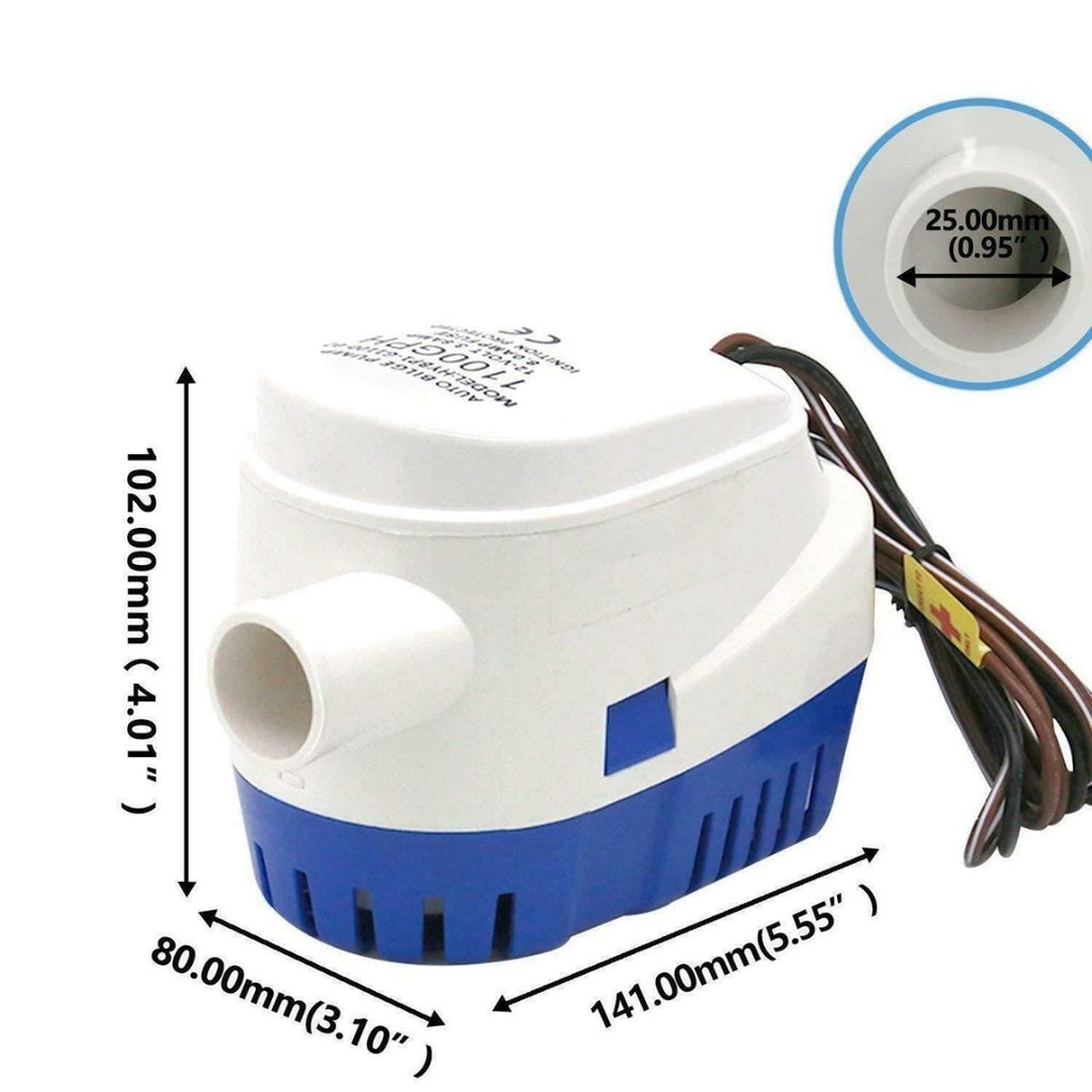 12V 1100GPH Automatic Submersible Bilge Water Pump Fully Auto Float Switch
