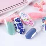 50pcs Holographic Starry Nail Foil Laser Blooming Flower Transfer Stickers Decal DIY Holo Slider