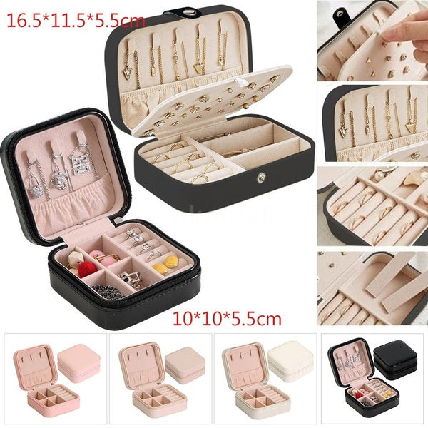 2 Style Jewelry Box Necklace Ring Storage Organizer Travel Synthetic Leather