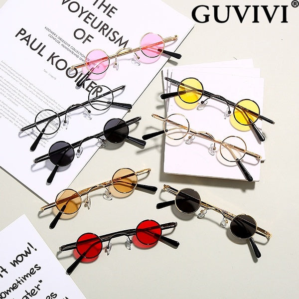 GUVIVI Women Men Personality Vintage Colored Lenses Sunglasses Hip Pop Metal Round Circle Sun Glasses