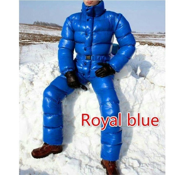 Winter New Men's Fashion Ski Suit with Removable Hood Down Jacket Jumpsuit Solid Color Slim Fit Playsuit Bright Color Thick Warm Parka Outfit Plus Size