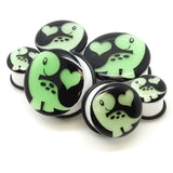 Luminous Dinosaur Flesh Tunnel Stretcher Ear Plug Gauges Acrylic Piercing