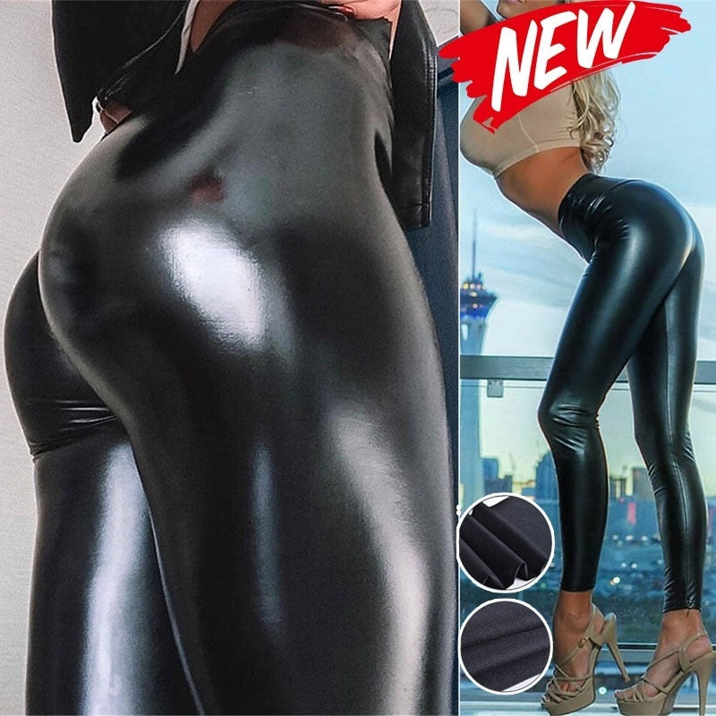 New Tight Leather Pants High Waist Leggings Stretch PU Yoga Pants Hot Pants Female Super Elastic
