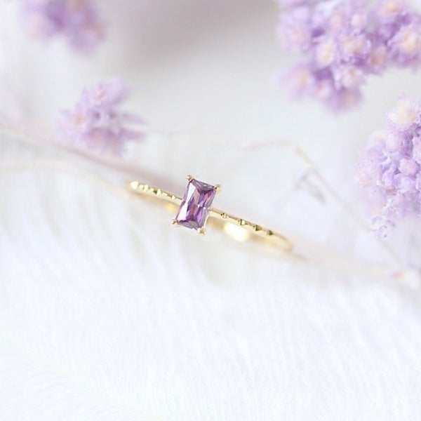 Exquisite women's fashion 18K gold ring rectangle pink&Amethyst engagement ring