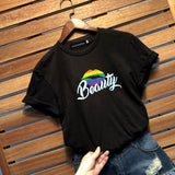 New Lgbt Couple Beast And Beauty T-Shirt Lesbian Gay Lovers Letter Printed T Shirt Casual Tee Shirt Gifts For Valentine'S Day