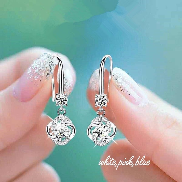 Lucky Clover Pendant Earrings 925 Sterling Silver Round Cut White Sapphire Diamonds Twisted Hook Earrings Memorial Gift Charm Jewelry (white,pink,blue)