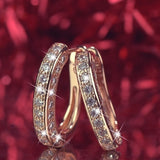 Fashion Sparkling 925 Sterling Silver In18K Real Gold Filled Fashion U-Shape Huggie Simulated Gemstone Hoop Earrings for Womens Engagement Earrings (3-color)