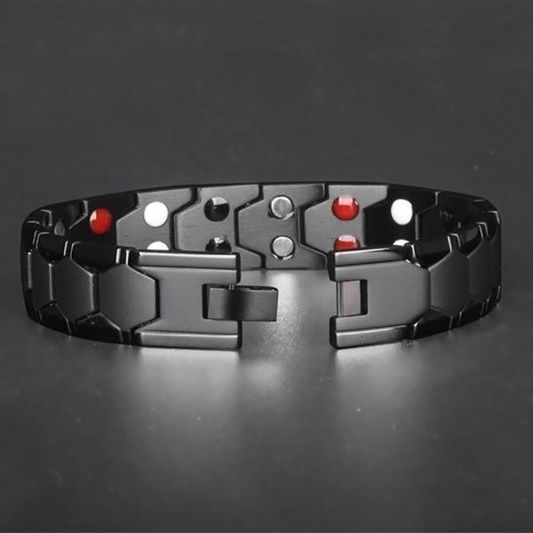 Mens 4 IN 1 Luxury Fashion Health Energy Bracelet Bracelet Mens 316L Stainless Steel Bio Magnetic Bracelet Black Gold Plated Jewelry