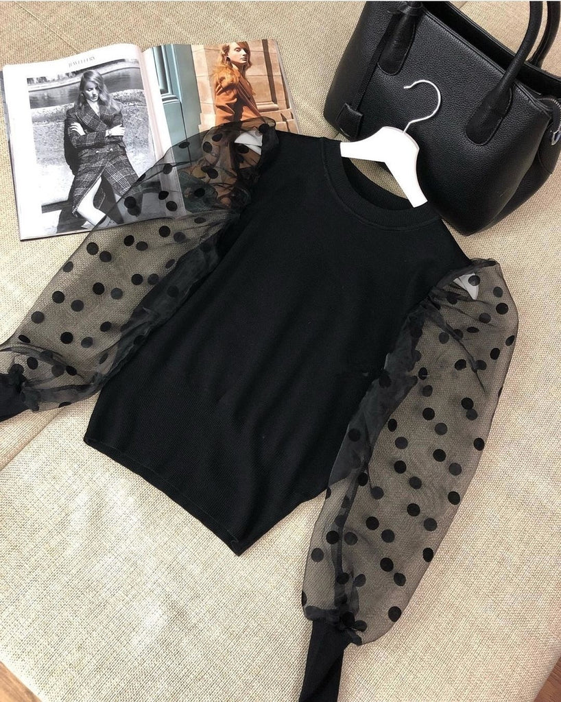 Women Spring Mesh Puff Long Sleeve Blouses Casual Polka Dots Blouse Tops Elegant Turtleneck Party Clothes
