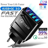 4 USB Ports Quick Charger QC 3.0 5.1A Powerful USB Adapter Fast Charger Wall Charger for Mobile Phone Tablets PC