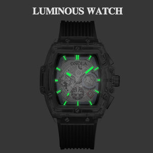ONOLA Men's Fashion Transparent Multifunctional Watch Luminous Waterproof Watch Silicone Strap