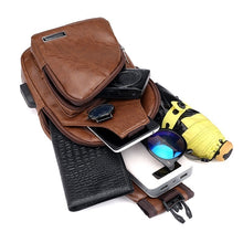 Load image into Gallery viewer, 1PC Chest Bag Casual Outdoor Travel USB Charging Port Sling Bag Leather Chest Bag Crossbody Bag 3 Colors