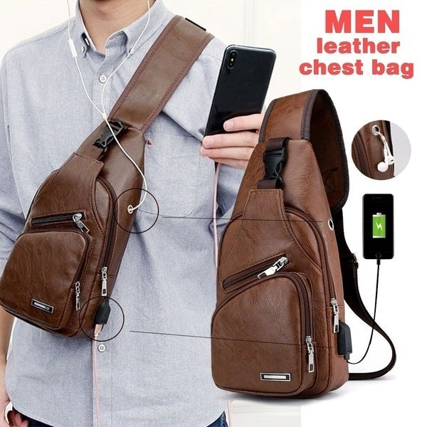 1PC Chest Bag Casual Outdoor Travel USB Charging Port Sling Bag Leather Chest Bag Crossbody Bag 3 Colors