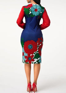 Flower Print Round Neck Blouson Sleeve Dress