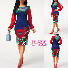 Load image into Gallery viewer, Flower Print Round Neck Blouson Sleeve Dress