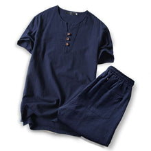 Load image into Gallery viewer, Summer Men's Linen Short Sleeve Tshirt Casual V-neck Loose Two-piece Suit T-shirts Set