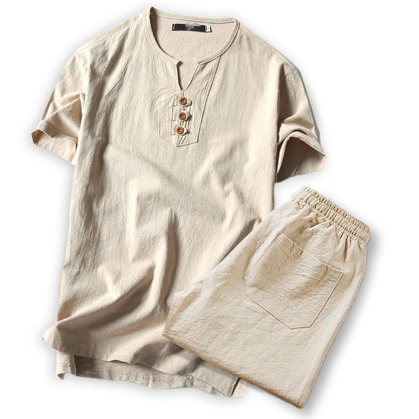 Summer Men's Linen Short Sleeve Tshirt Casual V-neck Loose Two-piece Suit T-shirts Set
