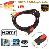 1.5M HDMI To RAV 3-RCA Video Audio AV Network Component Converter Adapter Cable for HDTV