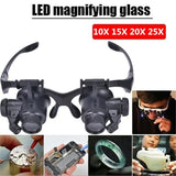 Jewelry Watch Repair LED Magnifier Loupe Glasses with 10X 15X 20X 25X Lens