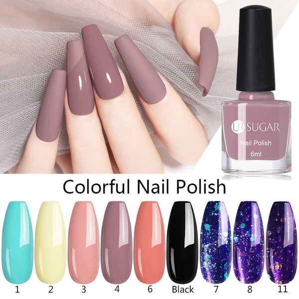 UR SUGAR Colorful Nail Polish Pink Purple Matte Nail Polish Black Nail Art Varnish