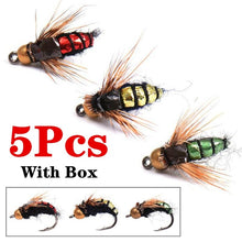 Load image into Gallery viewer, 5Pcs/Box Fly Fishing Lure Hooks Bee Insects Style Salmon Flies Trout Single Dry Fly Fishing Tackle