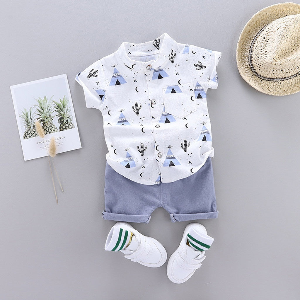 Short Sleeve Cartoon Print Gentleman T-shirt Newborn Baby Boy Clothes Summer Casual Cotton Shorts Pants Children Boys Clothes Sets