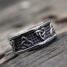 Load image into Gallery viewer, New Stainless Steel Celtic Knot Ring Men Vintage Viking Runes Punk Ring Wedding Jewelry Gifts For Him