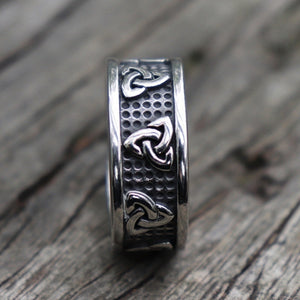 New Stainless Steel Celtic Knot Ring Men Vintage Viking Runes Punk Ring Wedding Jewelry Gifts For Him