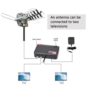 Outdoor TV Antenna - Amplified HD Digital Outdoor TV Antenna 150 Miles Range with Motorized 360 Degree Rotation, UHF/VHF/FM Radio with Infrared Wireless Remote Control