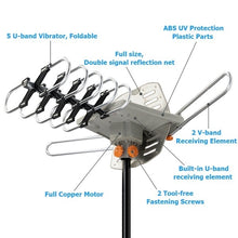 Load image into Gallery viewer, Outdoor TV Antenna - Amplified HD Digital Outdoor TV Antenna 150 Miles Range with Motorized 360 Degree Rotation, UHF/VHF/FM Radio with Infrared Wireless Remote Control