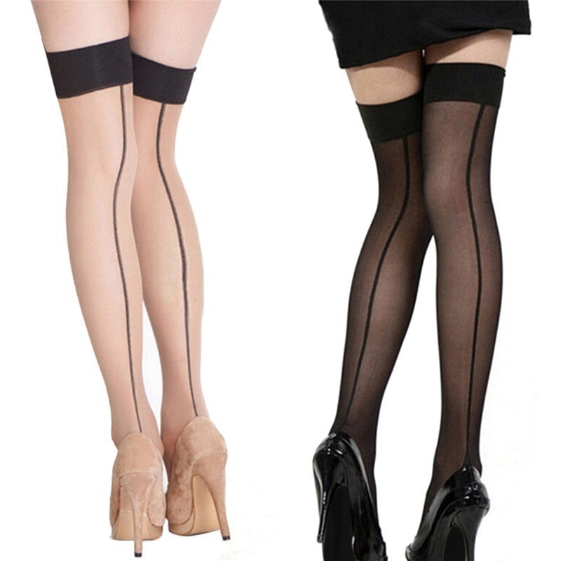 Fashion Girl Lady High Stockings Seamed Long Over Knee Heal Seam Thigh High