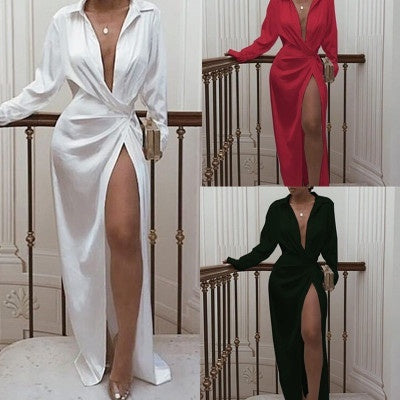 Women Lapel Collar Deep V Neck Shirt Dress Casual High Waist Split Mop Dress Solid Color Long Sleeve Buton Dress Irregular Floor Length Long Dress Plus Size