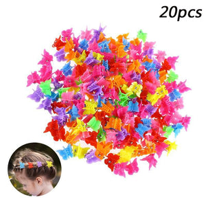 20pcs Mini Hair Claws Hairpin For Baby Girls Multi Colors Plastic Clips Butterfly Design Hair Claws Clamp Accessories
