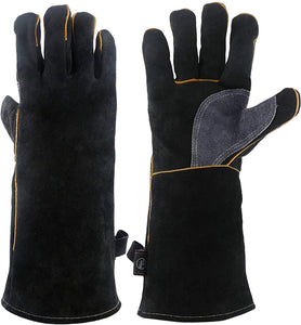 932¡ãF Leather Heat Resistant Forge Welding Gloves Grill BBQ Glove with Flame Retardant Long Sleeve and Insulated Cotton for Men and Women