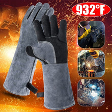 Load image into Gallery viewer, 932¡ãF Leather Heat Resistant Forge Welding Gloves Grill BBQ Glove with Flame Retardant Long Sleeve and Insulated Cotton for Men and Women