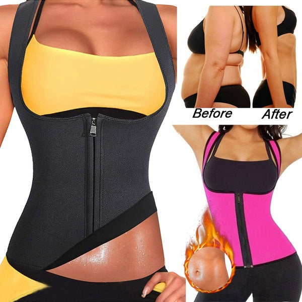 Women Sauna Suit Neoprene Sweat Waist Trainer Vest with Zipper for Weight Loss Slimming Corset Workout Body Shaper Shirt Tank Top
