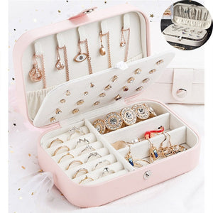 3 Styles Portable Jewelery Organizer Storage Box Rings Earring Earstud Necklace Bracelet Watches Containers for Women Girls Travel Work Business Trip (8cm / 10cm / 16.5cm)