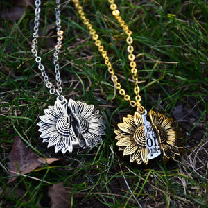 Not Sisters By Blood But Sisters By Heart Hidden Message Sunflower Locket Necklaces Gift for Sisters