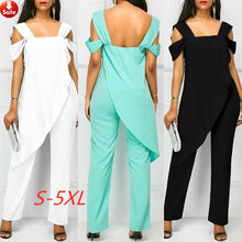 Load image into Gallery viewer, Summer Women's Fashion Chiffon Off Shoulder Irregular Romper High Waist Slim Sleeveless Pencil Jumpsuit Rompers
