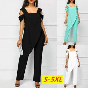 Summer Women's Fashion Chiffon Off Shoulder Irregular Romper High Waist Slim Sleeveless Pencil Jumpsuit Rompers
