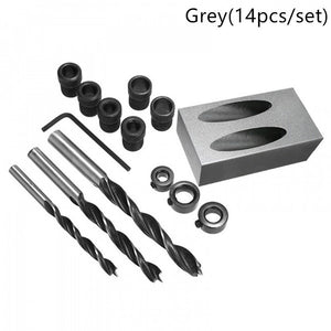 14pcs Oblique Hole Locator Drill Bits Jig Clamp Kit for Woodworking