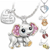Exquisite 925 Sterling Silver Cute Elephant Bee Owl Ladybug Unicorn Heart Diamond Pendant Necklace for Women Girls Lovers Anniversary Lovers Gift