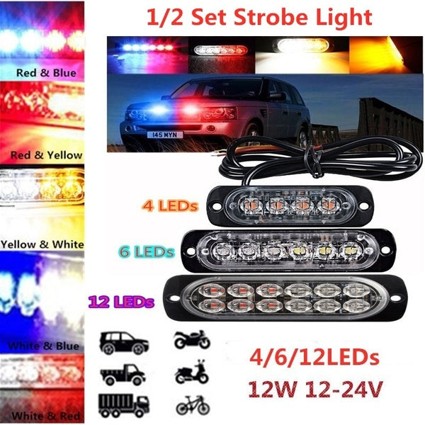 1 / 2 Set 12W 12-24V 4 / 6 /12 LEDs Strobe Light 19 Modes Ultra-thin Emergency Flash Warning Caution Light for Trucks Cars Motorcycles