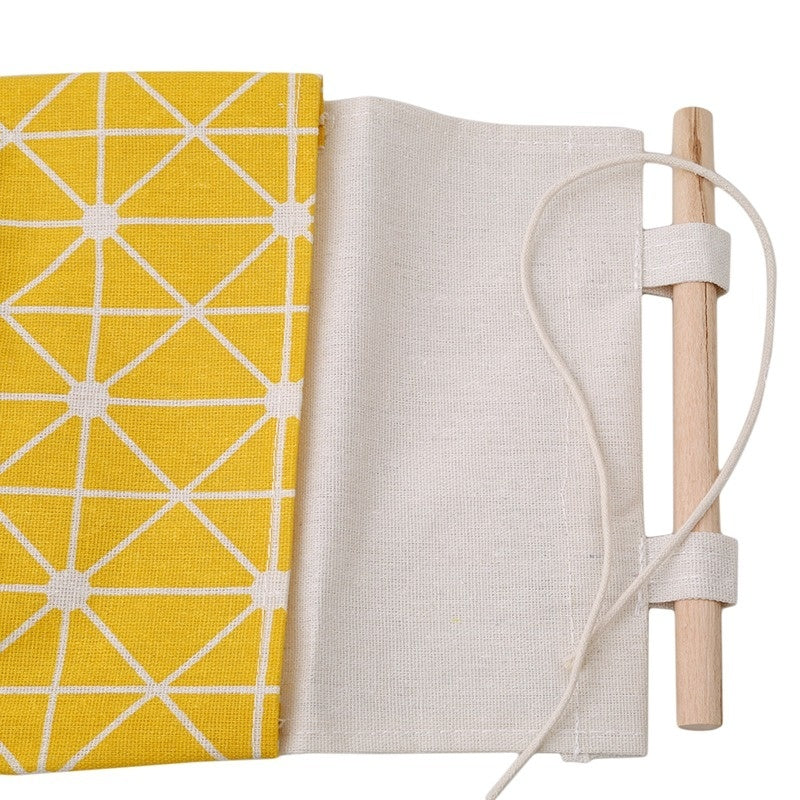 Storage Bag Cotton and Linen Waterproof Three Grid Storage Hanging Bag Geometric Arrow Three Pocket Combination