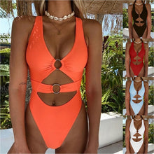Load image into Gallery viewer, Women Fashion Summer Solid Color V Neck O-Ring Cutout One-Piece Swimsuit One Piece Swimwear Plus Size S-5XL