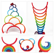 Load image into Gallery viewer, Creative Rainbow Stacker Wooden Kids Toys Rainbow Building Blocks Montessori Toys Educational Toys for Children