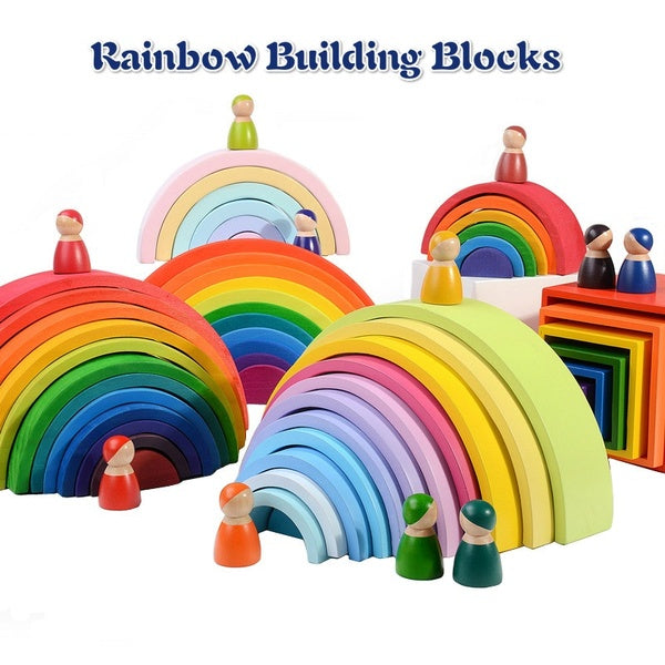 Creative Rainbow Stacker Wooden Kids Toys Rainbow Building Blocks Montessori Toys Educational Toys for Children