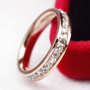 925 Silver/18K Rose Gold CZ Titanium Steel Ring Men/Womens Stainless Single Row White Sapphire Ring Wedding Band Size 6-13